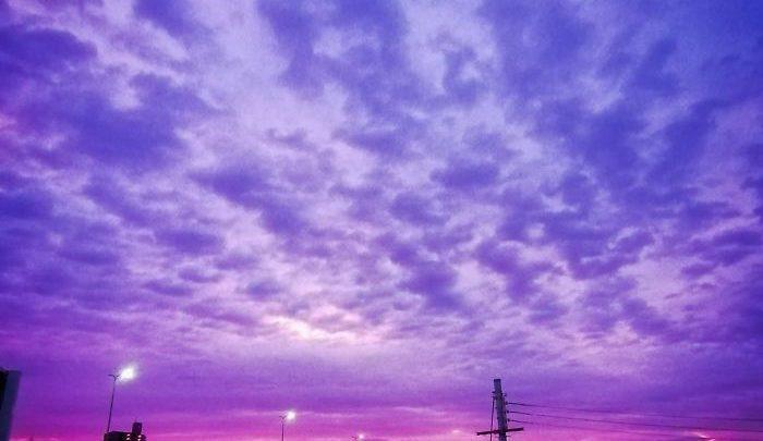 آرامش قبل از توفان ؛ آسمان بنفش ژاپن ، تصاویر