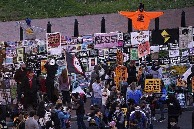تجمع خشونت آمیز معترضان ضد ترامپ مقابل کاخ سفید